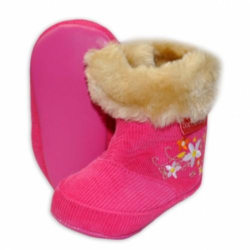 Menčestrové zimné topánočky BOBO BABY s kožušinkou - Kvetinky - tm. ružové - 3/6měsíců