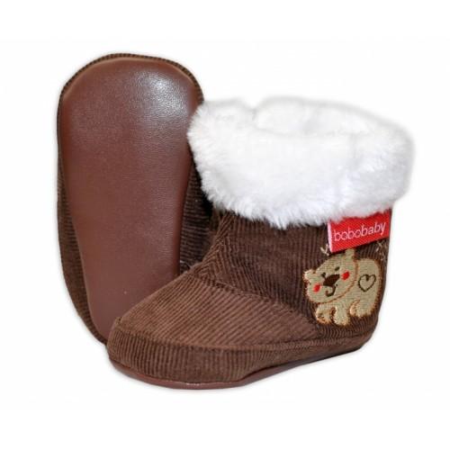 Menčestrové zimné topánočky BOBO BABY s kožušinkou - Medvedík - hnedé - 3/6měsíců