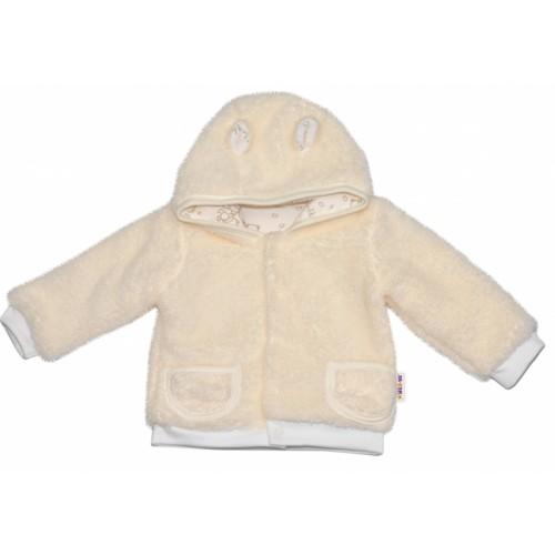 Chlupáčkový kabátik, mikinka Baby Nellys ® - smotanový - veľ. 98 - 98 (24-36m)