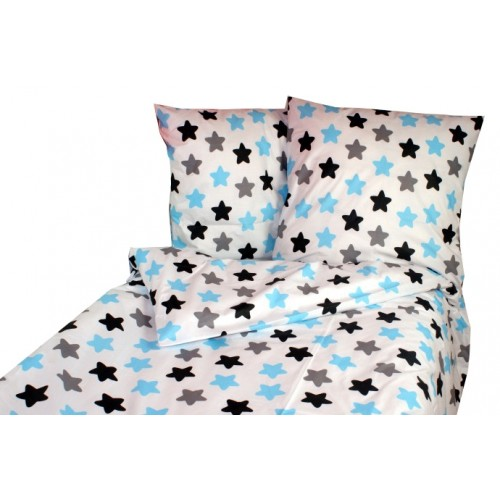 Baby Nellys Bavlnené obliečky 140 x 200/70 x 90 - farebné hviezdičky - modré - 140x200/70x90cm