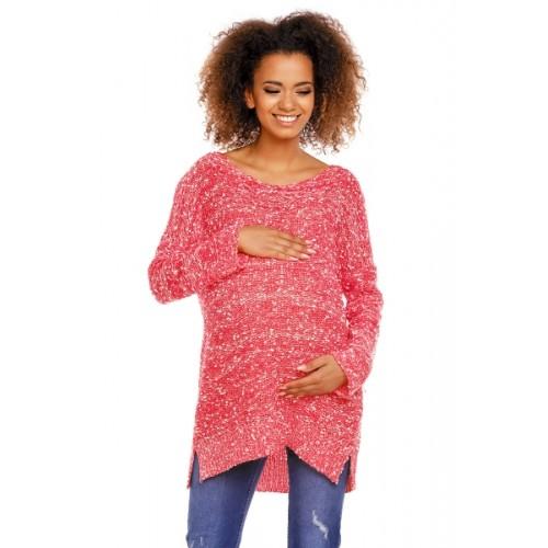 Be MaaMaa Perličkový tunikový svetrík LORY melírkovaný - červený