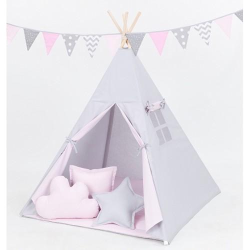 Mamo Tato Stan pre deti teepee, típí bez výbavy - sivý / svetlo ružový