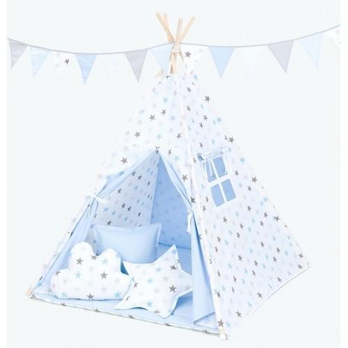 Mamo Tato Stan pre deti teepee, típí s výbavou - Hviezdy šedé a modré/svetlo modrý