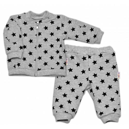 Bavlnená tepláková súprava Baby Nellys ® - Hviezdy čierne/sivá - veľ. 74 - 74 (6-9m)