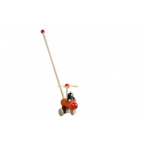Strkadlo Krtko a vrtuľník drevo 60cm tlačiaci s tyčkou v sáčku 12m +