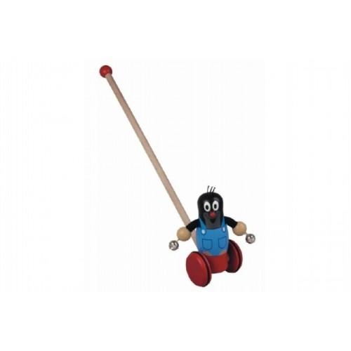 Strkadlo Krtko drevo 55cm na kolieskach tlačiaci s tyčkou