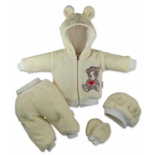 Baby Nellys Chlupáčkový komplet 5-ti dílný komplet Teddy - krémový - 80 (9-12m)