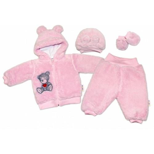 Baby Nellys Chlupáčkový komplet Welsoft Teddy vel. 68 - růžový - 68 (4-6m)