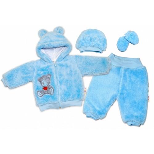 Baby Nellys Chlupáčkový komplet Welsoft Teddy vel. 74 - modrý - 74 (6-9m)