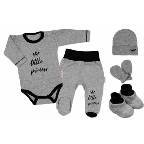 Baby Nellys Súpravička do pôrodnice Princess - sivý - 56 (1-2m)