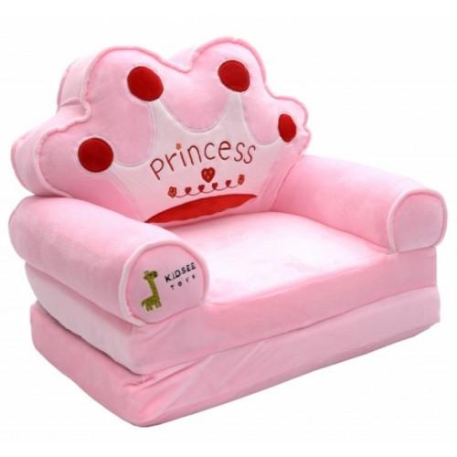 Baby Nellys Plyšové kresielko rozkladacie 3v1  - Princess