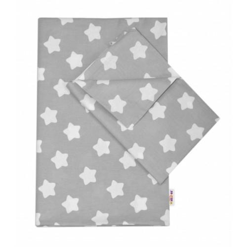 Baby Nellys Bavlnené obliečky 140 x 200/70x90 - Sweet Stars - sivá - 140x200/70x90cm
