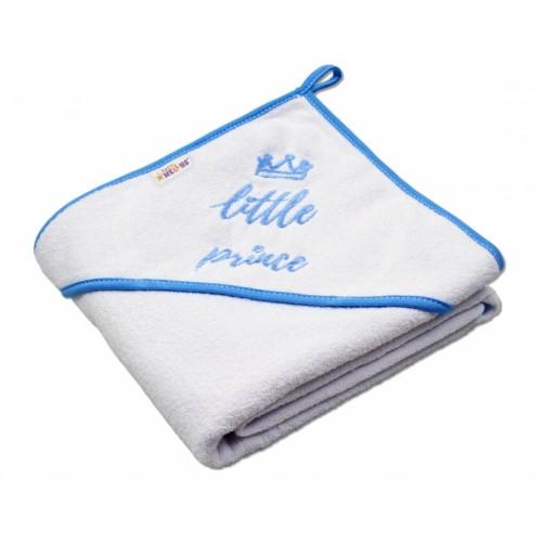 Baby Nellys Detská termoosuška Little prince s kapucňou, 80 x 80 cm - biela, modrý lem