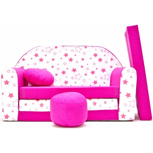 Rozkladacia detská pohovka Nellys ® 86R - Magic stars - růžové