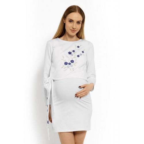 Be MaaMaa Elegantné tehotenské šaty, tunika s výšivkou a stuhou - biele (dojčiace) - S/M