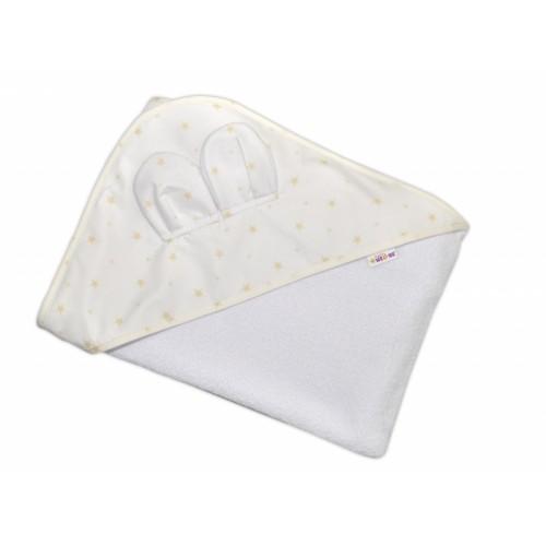 Baby Nellys Detská termoosuška Baby Mini Stars s kapucňou, 100 x 100 cm - biela/smotanová