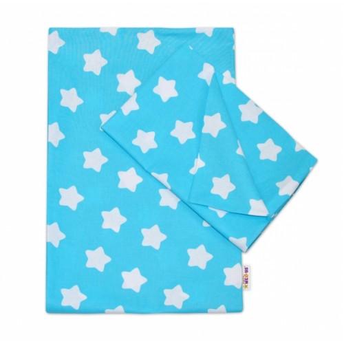 Baby Nellys Bavlnené obliečky 140 x 200/70x90 - Sweet Stars - tyrkysová - 140x200/70x90cm