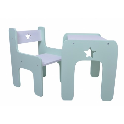 NELLYS Sada nábytku Star - Stôl + stolička - máta s bielou