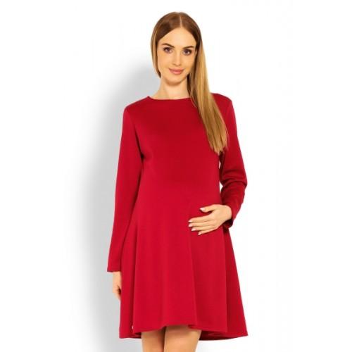 Be MaaMaa Elegantné voľné tehotenské šaty dl. rukáv - bordo,červené - S/M