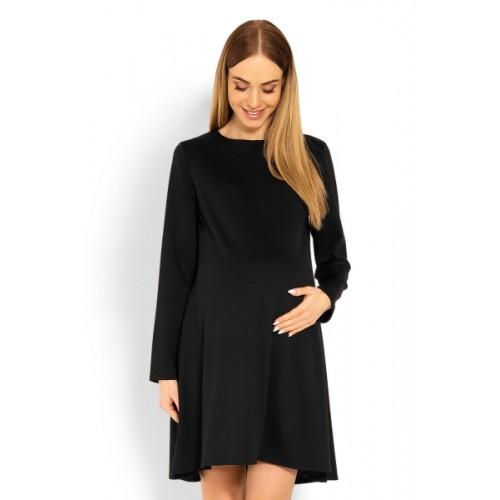 Be MaaMaa Elegantné voľné tehotenské šaty dl. rukáv - čIerné, L/XL - L/XL