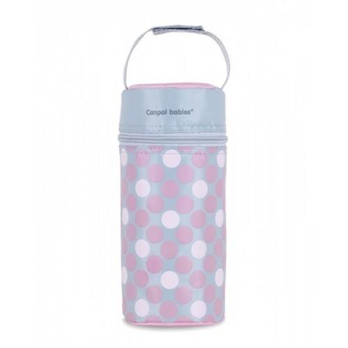 Canpol babies Termobox na dojčenskú fľašu - bodki ružové