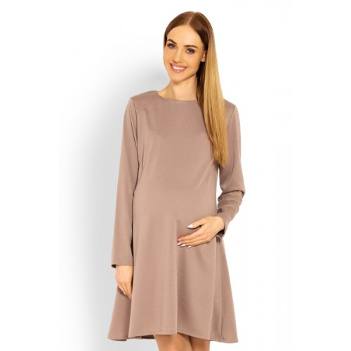 Be MaaMaa Elegantné voľné tehotenské šaty dl. rukáv - cappuccino,  L/XL - L/XL