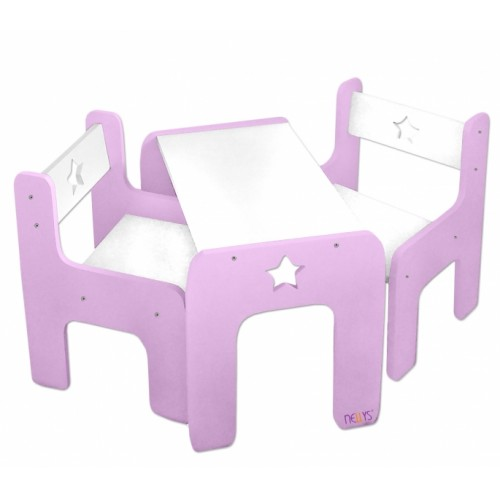 NELLYS Sada nábytku Star - Stôl + 2 x stoličky - růžová  D19