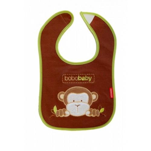 BOBO BABY Trojvrstvový bavlnený podbradník Opička - hnedý