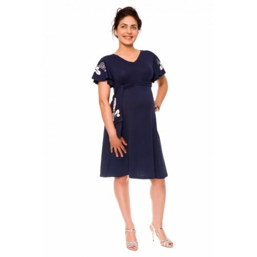 Be MaaMaa Elegantné tehotenské šaty Alexie, so stuhou a potlačou - granát, vel´. S -  S (36)