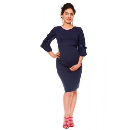 Be MaaMaa Elegantné tehotenské a dojčiace šaty Barbara - granát, vel´. L - L (40)