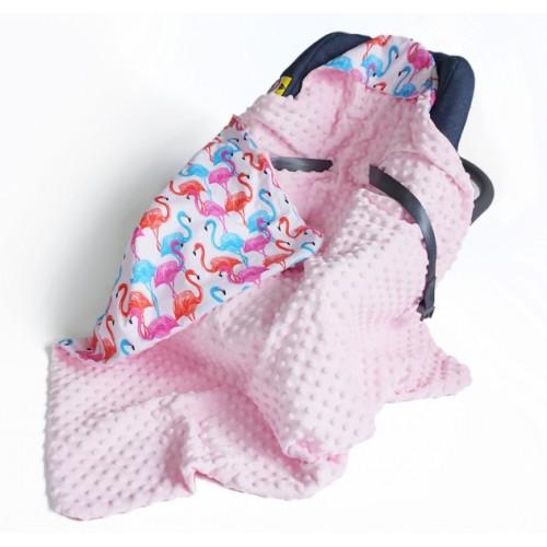 Baby Nellys Luxusná bavlnená dečka 3v1 s Minky, 90 x 90 cm, plameniaky, Minky - růžová