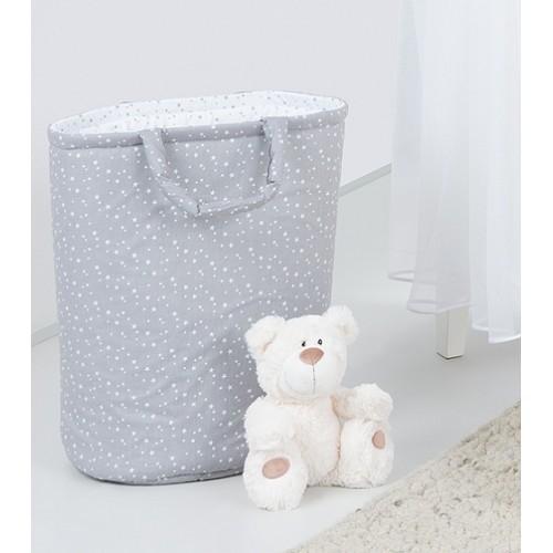 Box na hračky - obojstranný. Farba: mini hviezdičky biele na šedom / mini hviezdičky sivé