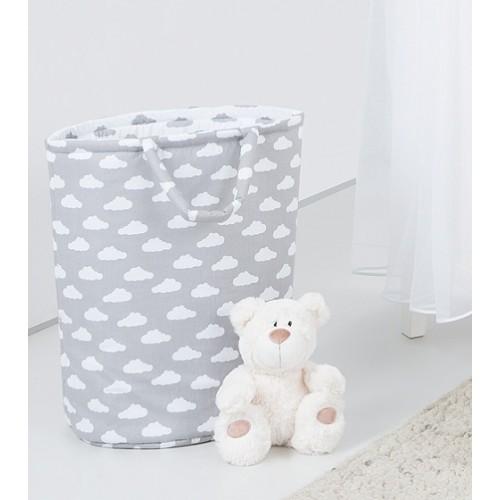Mamo Tato Box na hračky - obojstranný. Farba: mráčik biely / mráčik šedý