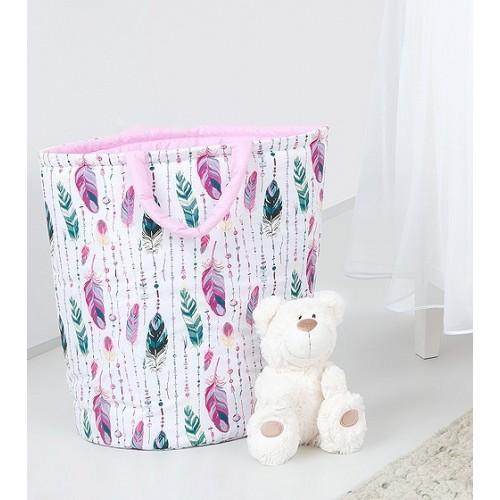 Mamo Tato Box na hračky - obojstranný. Farba: ružové perie / ružový