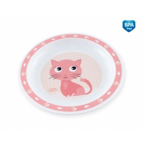 Canpol babies Plastový tanierik Mačička - ružový