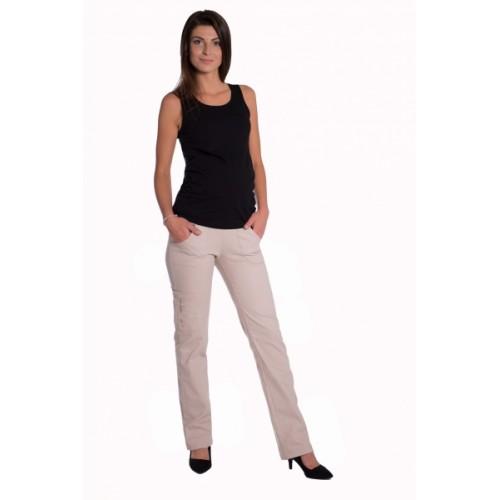 Be MaaMaa Bavlnené, tehotenské nohavice s vreckami - béžové -  S (36)