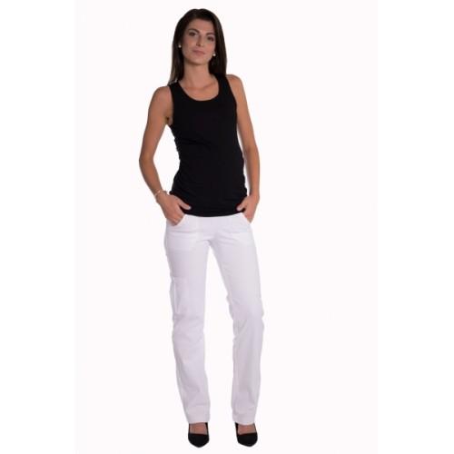 Be MaaMaa Bavlnené, tehotenské nohavice s vreckami - biele, vel´. M - M (38)