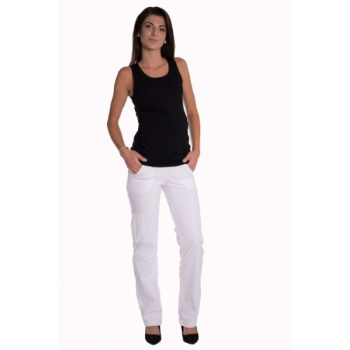 Be MaaMaa Bavlnené, tehotenské nohavice s vreckami - biele, vel´. XL - XL (42)
