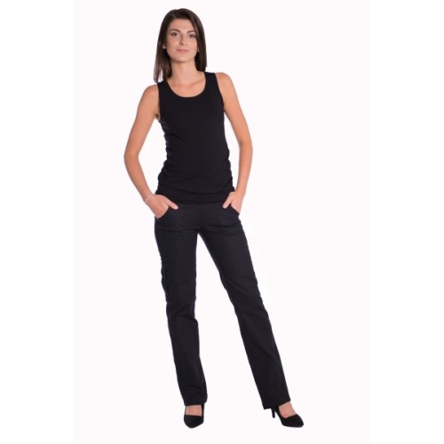 Be MaaMaa Bavlnené, tehotenské nohavice s vreckami - čierne, vel´. M - M (38)