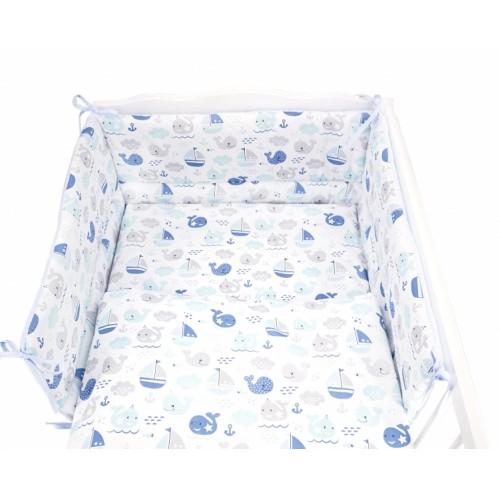 Baby Nellys 3- dielná sada mantinel s obliečkami 135x100 cm, Oceán Baby - modrá - 135x100