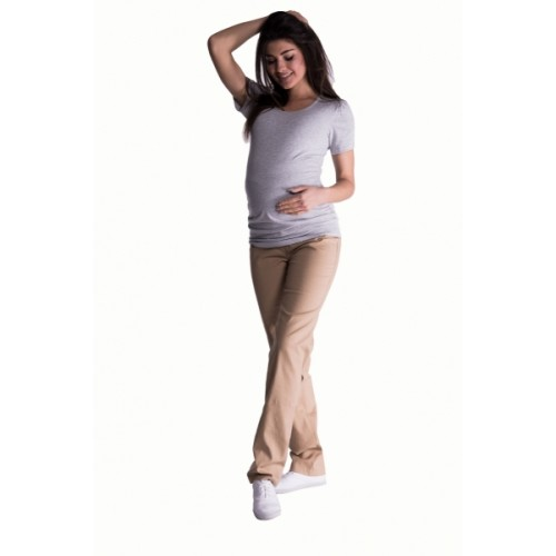 Be MaaMaa Bavlnené, tehotenské nohavice s regulovateľným pásom - béžové -  S (36)