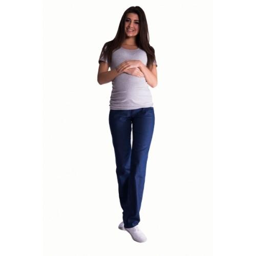 Be MaaMaa Bavlnené, tehotenské nohavice s regulovateľným pásom - tm. modré -  S (36)
