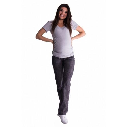 Be MaaMaa Bavlnené, tehotenské nohavice s regulovateľným pásom - čierne, vel´. M - M (38)