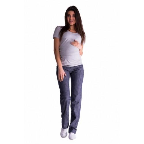 Be MaaMaa Bavlnené, tehotenské nohavice s regulovateľným pásom - granat, vel´. XXL - XXL (44)