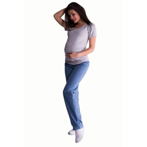 Be MaaMaa Bavlnené, tehotenské nohavice s regulovateľným pásom - sv. modrá -  S (36)