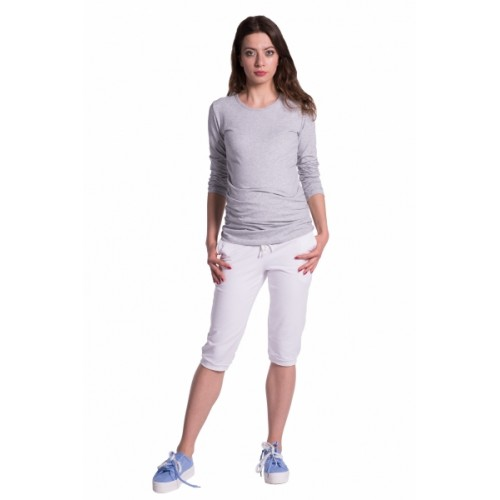 Be MaaMaa Moderné tehotenské 3/4 nohavice s vreckami - biele, vel´. L - L (40)