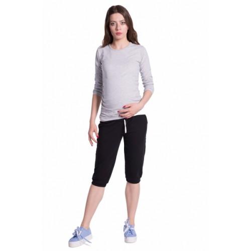 Be MaaMaa Moderné tehotenské 3/4 nohavice s vreckami - čierne, vel´. M - M (38)