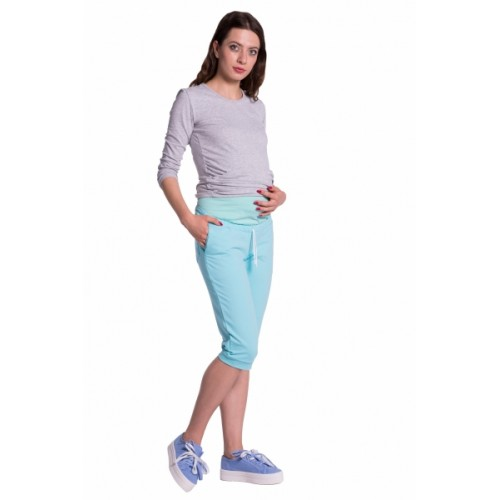 Be MaaMaa Moderné tehotenské 3/4 nohavice s vreckami - mätové, vel´. M - M (38)