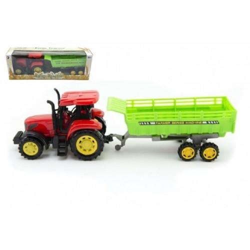 Teddies Traktor s vlekom plast 35cm na zotrvačník v krabici