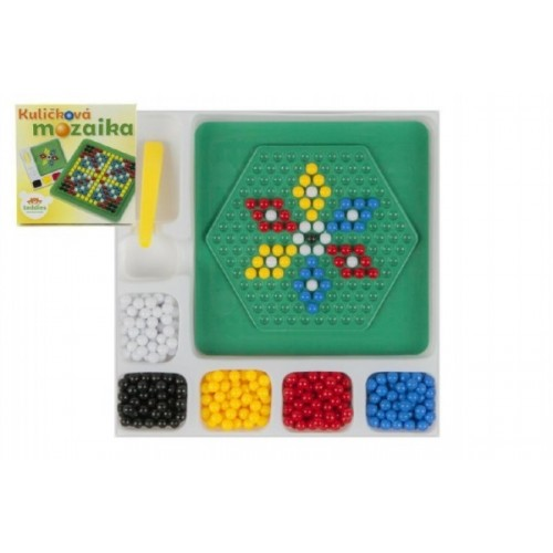 Mozaika guličkové s pinzetou malá 250 ks plast 12x12cm v krabičke